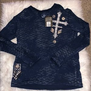 NWT Affliction Live Fast Ls Tronic shirt navy 2xl